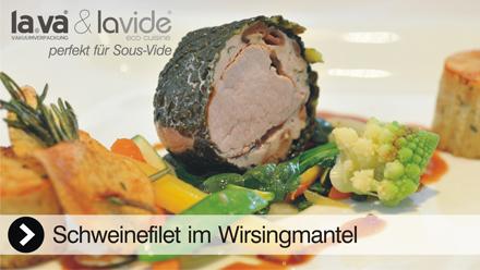 Sous-Vide Video Schweinefilet im Wirsingmantel - In diesem Film erleben Sie live, wie einfach es ist mit einem Lavide Sous-Vide Gerät köstliches Schweinefilet zuzubereiten. Jetzt anklicken, das Sous-Vide Video Schweinefilet im Wirsingmantel von Lavide