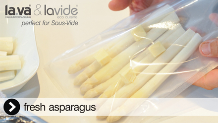 Asparagus Sous-Vide, it is so delicious and you can do this at home with the Lavide Sous-Vide equipment