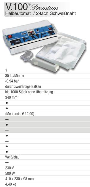 Das Lava Vakuumgerät V.100 Premium ist ein Profi-Vakuumgerät mit Doppelschweißnaht und ideal für die Vakuumverpackung in Haushalt und Gewerbe!
