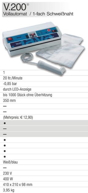 Der Lava Vakuumierer V.200 ist ein Profi-Vakuumierer mit Vollautomatik und ideal für Vakuumverpackung in Haushalt und Gewerbe - jetzt online bestellen, direkt vom Hersteller!