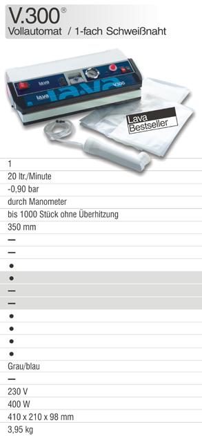 Die Vakuummaschine V.300, Bestseller Vakuumiergerät bei Lava mit Manometeranzeige und Druckregulierung, ideal für Vakuumverpackung in Haushalt und Gewerbe - hier online kaufen!