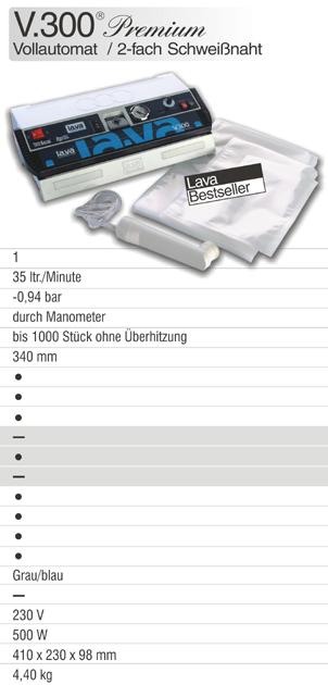 Test Sehr-Gut - das Profi-Vakuumiergerät V.300 Premium, der Bestseller bei Lava. Jetzt das Lava Vakuumiergerät V.300 Premium kaufen und wie ein Profi vakuumieren in Haushalt & Gewerbe.
