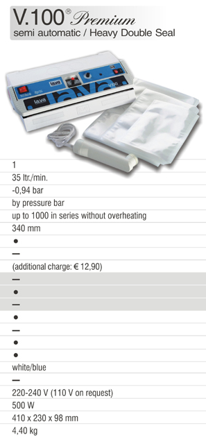 German Vacuum Sealer V.100 Premium - Buy now the Original of Lava - the powerful Vacuum Sealer V.100 Premium for home- and commercial use - vacuum packing food and commercial products